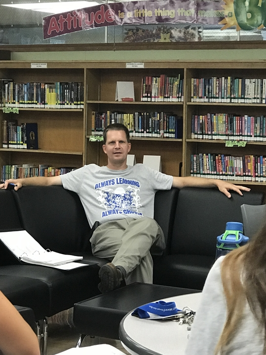 Mr. Walder leads the first John Greer Building Leadership Team meeting of the school year.