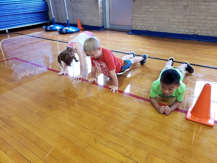 students doing pushups