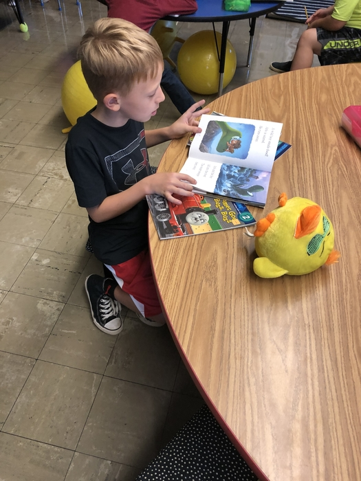 First graders are loving reading stories to their 'reading buddies'! #maple #cornjerkerpride