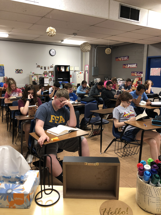 English 3 begins class each day with at least 10 minutes of independent choice reading. It's important for students to choose something to read that interests them. Parents should encourage this at home, too! Students who are readers will do better on the SAT! #CornjerkerPride