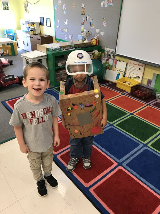 Space man and friend