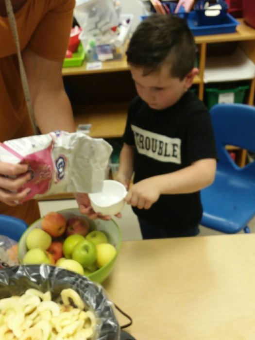 Making applesauce in pre-K.