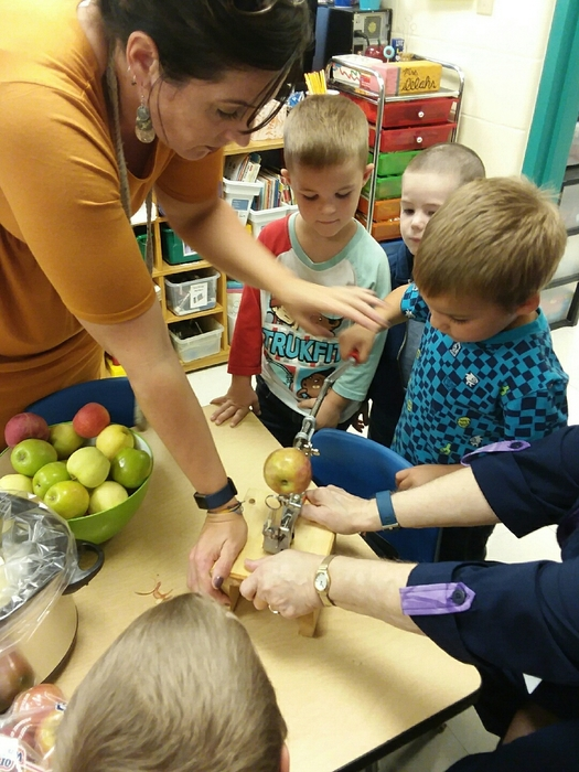 Afternoon class making applesauce.