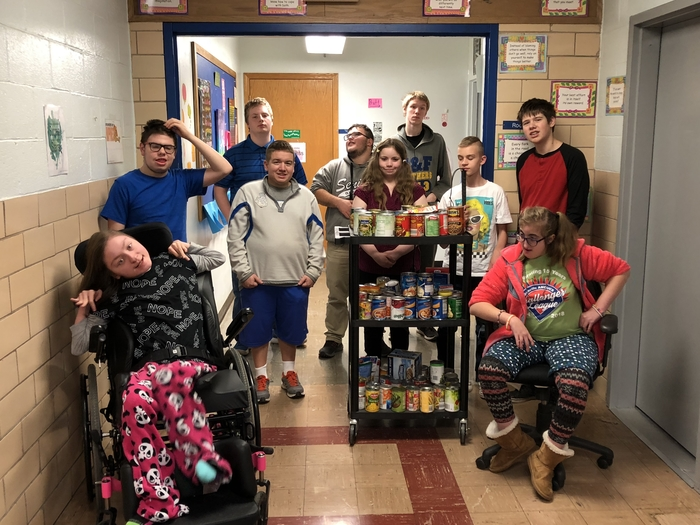 Mrs.Pratt's Life Skills Class collected canned goods for the Hoopeston Food Cupboard