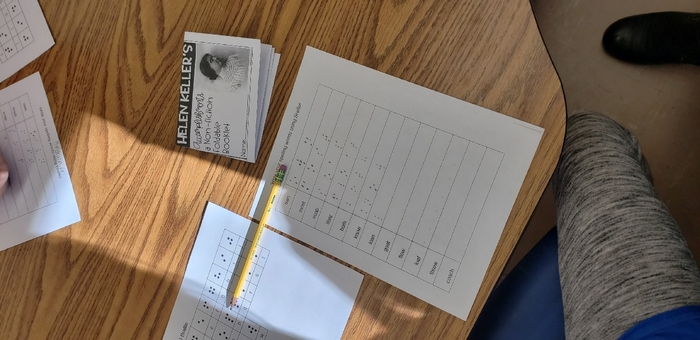 2nd grade is reading about Helen Keller this week. Today, we are writing our spelling words in Braille!