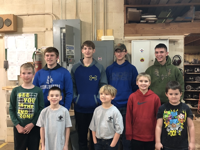 The Shop class helping out Hoopeston Cub Scouts