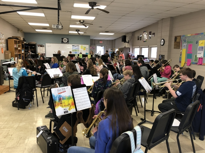 Concert band rehearsal