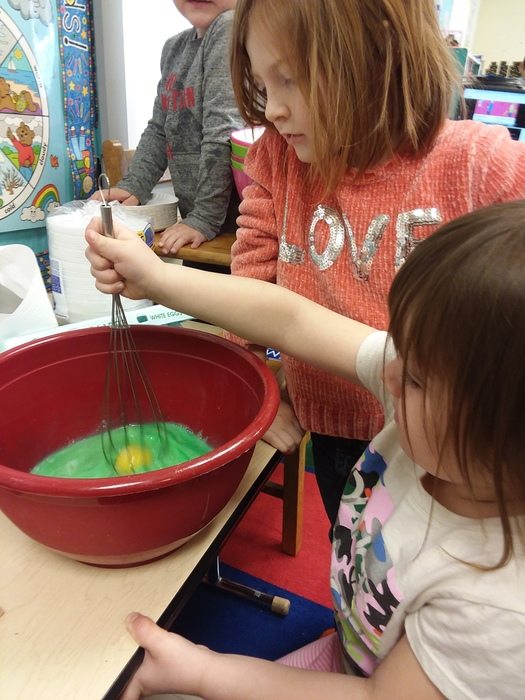 Making green eggs in Pre-K
