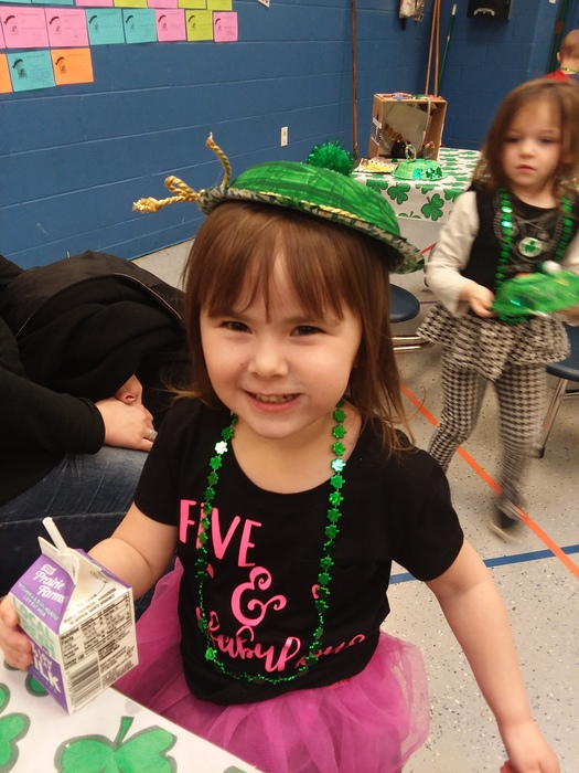 Showing off our Leprechaun hats in Pre-K.