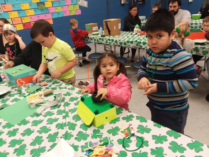 Making Leprechaun traps in Pre-K/EC.
