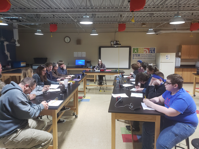 Scholastic Bowl match with students vs. their parents