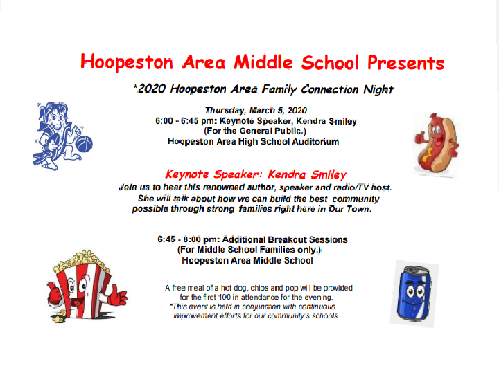 Join us for the Hoopeston Area Family Connection Night this Thursday, 3/5 from 6-8pm.